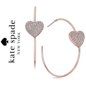 💜HP💜KATE SPADE NY ♠️Truly Yours Heart Pave Hoops